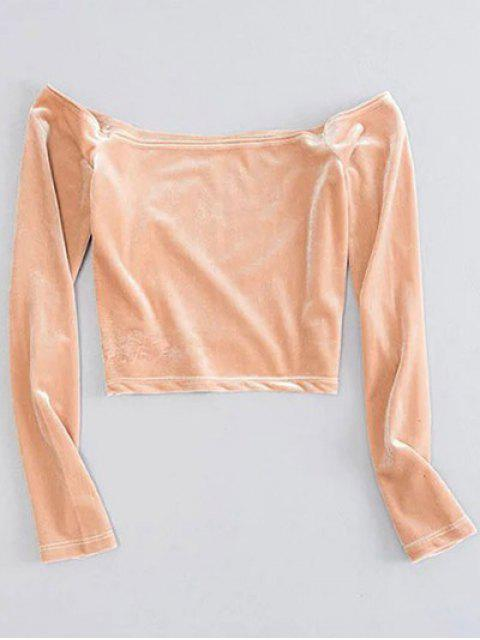 shops Off The Shoulder Cropped Velvet Top - YELLOWISH PINK S Mobile