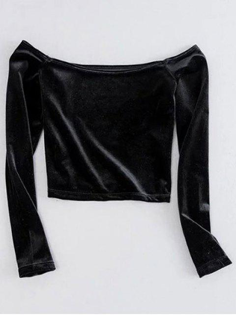 latest Off The Shoulder Cropped Velvet Top - BLACK M Mobile