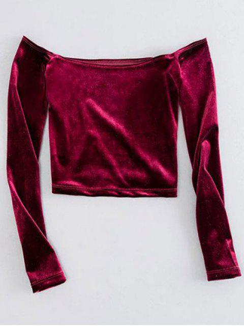 fashion Off The Shoulder Cropped Velvet Top - BURGUNDY M Mobile