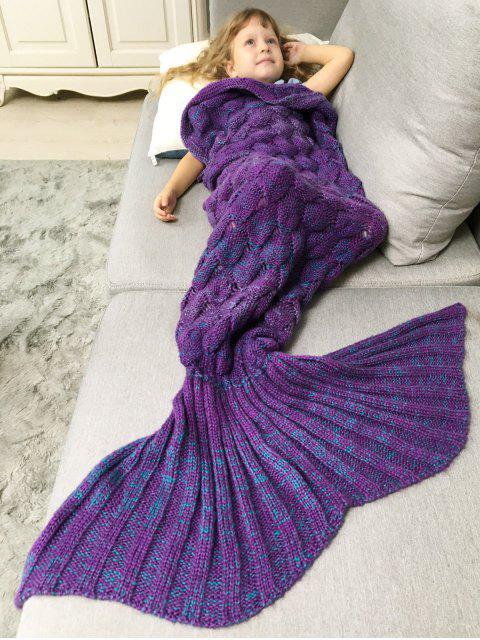 womens Chunky Crochet Knit Kids' Mermaid Blanket Throw - PURPLE  Mobile
