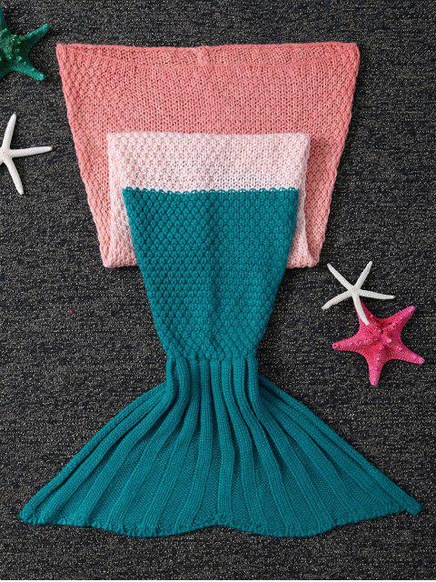 women's Kids' Ombre Crochet Knit Mermaid Blanket Throw -   Mobile