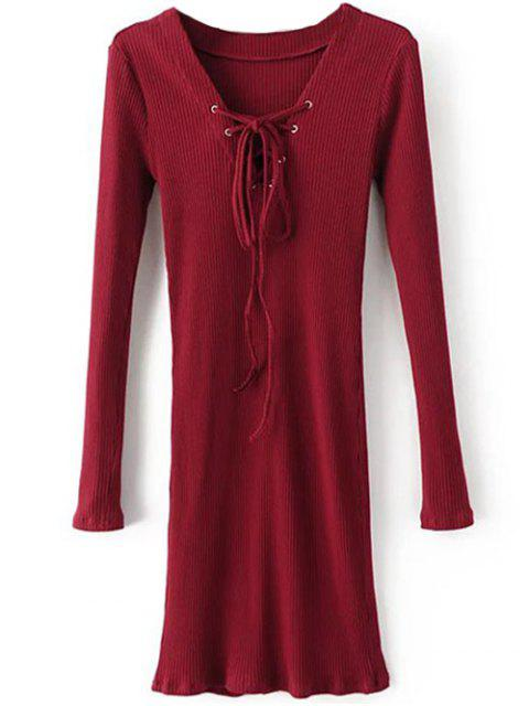 sale Long Sleeve Ribbed Lace Up Bodycon Dress - BURGUNDY M Mobile