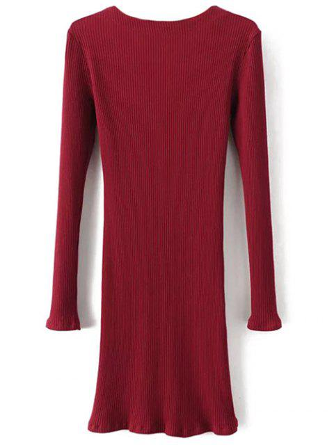 unique Long Sleeve Ribbed Lace Up Bodycon Dress - BURGUNDY L Mobile