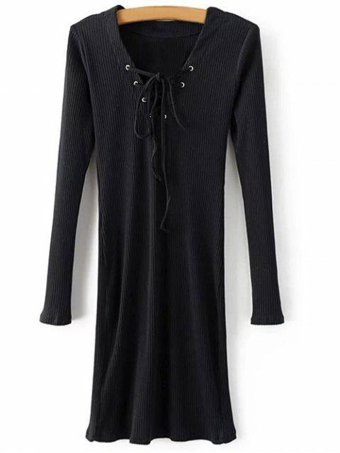 Manches longues Ribbed Lace Up Dress - Noir L Mobile
