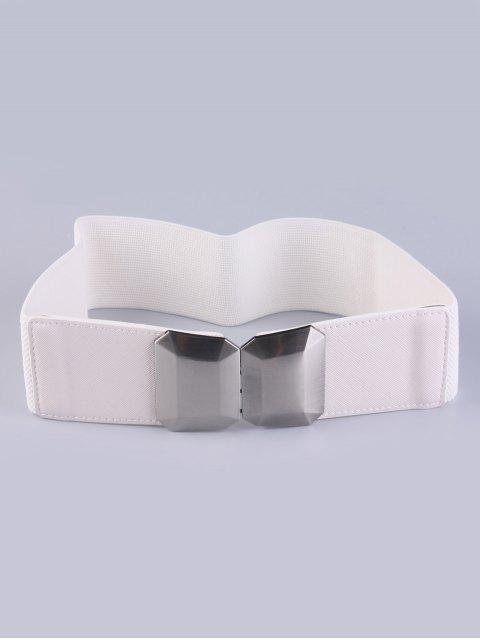 buy Smooth Alloy Buckle Elastic Waist Belt - WHITE  Mobile
