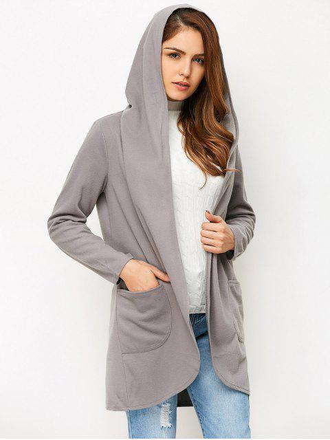 best Cotton Open Front Coat - GRAY M Mobile