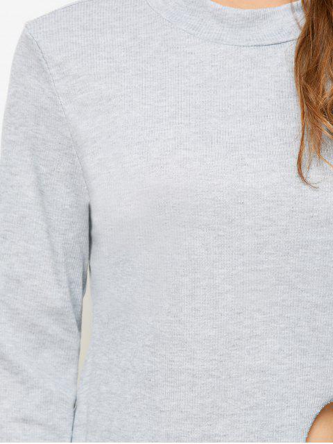 T-shirt à col haut avec fente haute - Gris Clair L Mobile