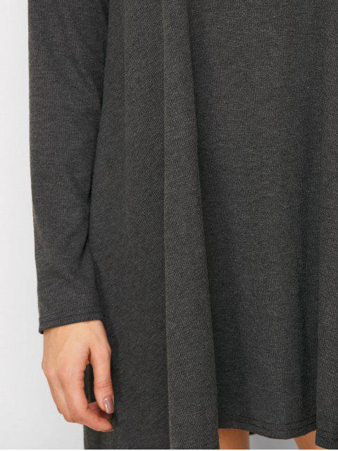 women's Long Sleeve Smock Mini Dress - BLACK M Mobile