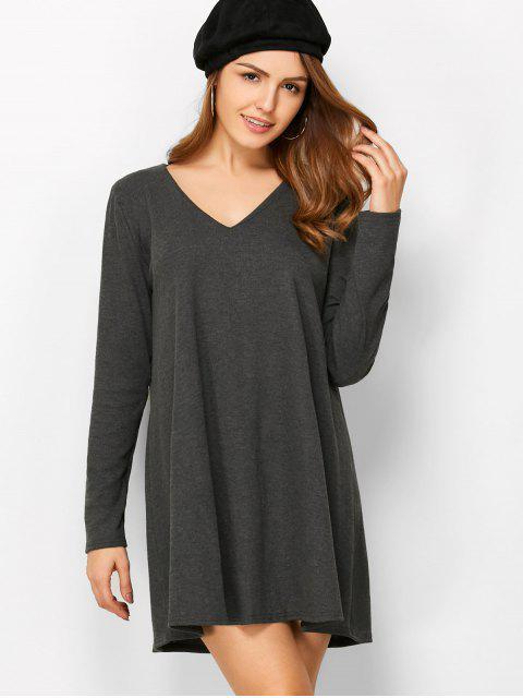 ladies Long Sleeve Smock Mini Dress - DEEP GRAY S Mobile