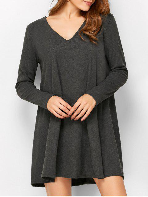 women Long Sleeve Smock Mini Dress - DEEP GRAY L Mobile