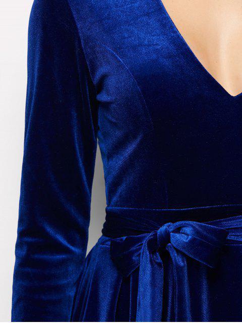new Velvet Choker Belted Mini Dress - BLUE S Mobile