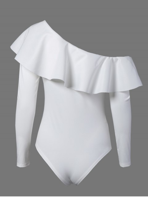 new Ruffles Long Sleeve Skinny Bodysuit - WHITE XL Mobile