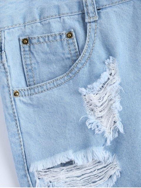 chic Light Wash Rivet Ripped Denim Shorts - LIGHT BLUE XL Mobile