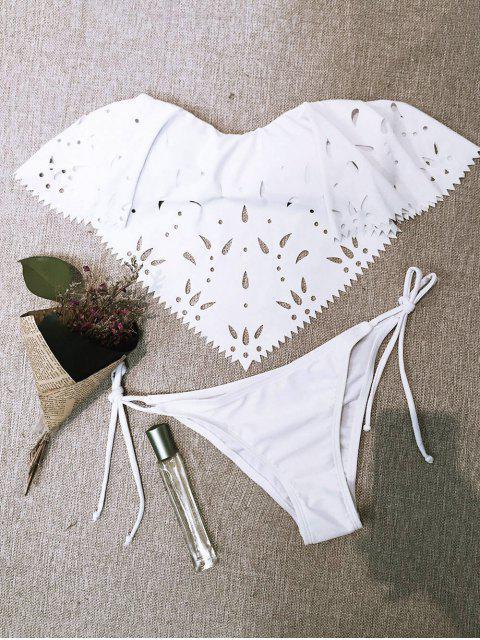 outfit Strapless Cutwork String Bikini - WHITE M Mobile