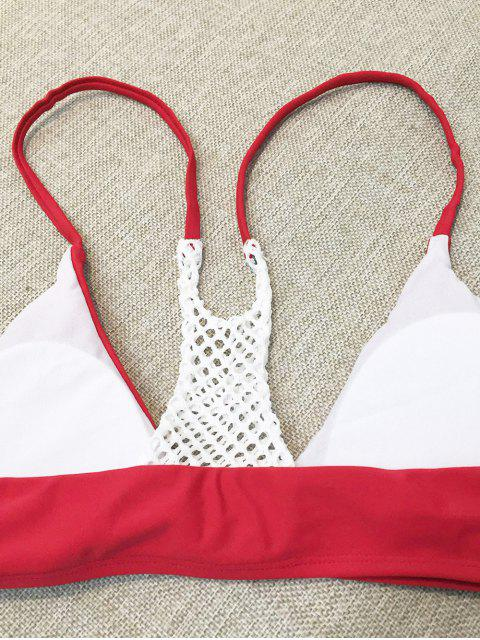shops Mesh Panel High Leg Bikini - RED M Mobile