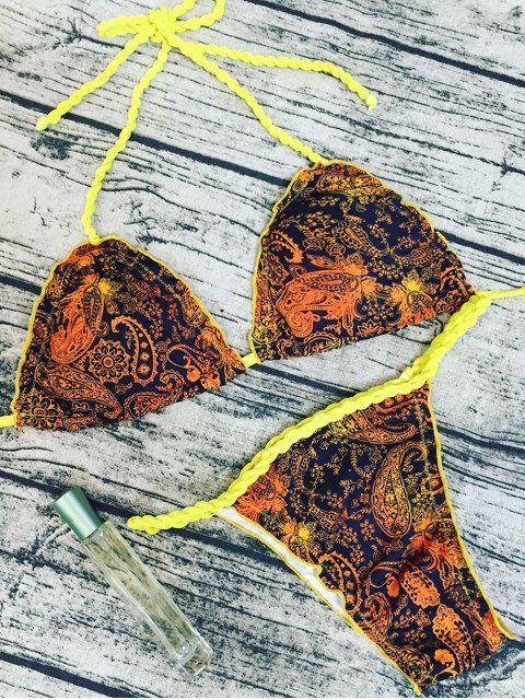 women Tribal Print Braid Bikini Set - COLORMIX L Mobile