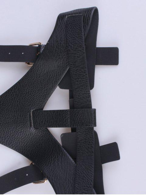 womens Faux Leather Belt Suspenders - BLACK  Mobile