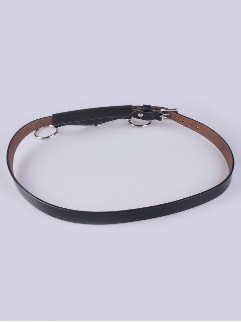 women's Faux Leather Waist Belt - BLACK  Mobile