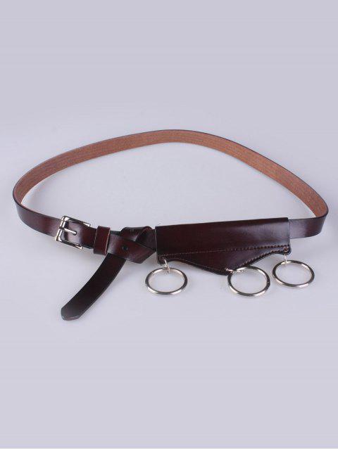 lady Faux Leather Waist Belt - MAROON  Mobile