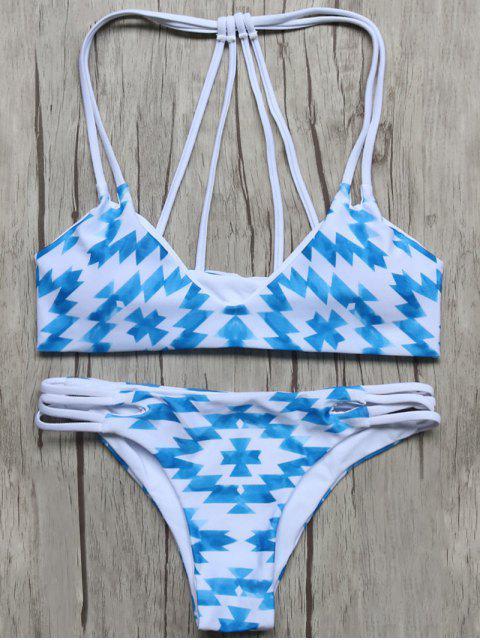sale Geometric Pattern Padded Stringy Bikini - BLUE AND WHITE L Mobile