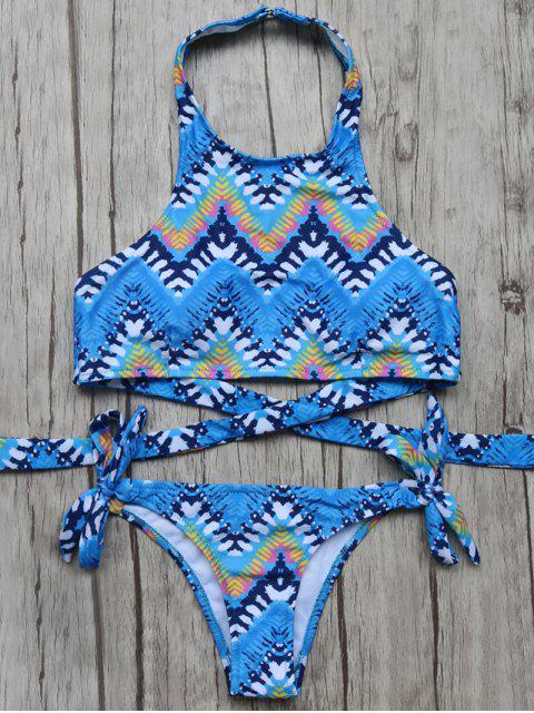 latest High Neck Zig Zag Bikini Top and Bottoms - BLUE S Mobile