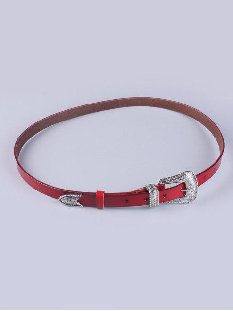 outfit Vintage Pin Buckle Waist Belt - WINE RED  Mobile