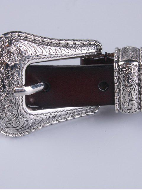 shops Vintage Pin Buckle Waist Belt - MAROON  Mobile