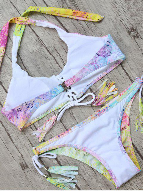 trendy Halter Tassel String Bikini Top and Bottoms - MULTICOLOR L Mobile