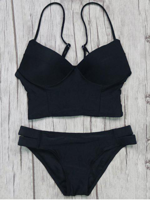 best Long Line Bikini Top and Bottoms - BLACK M Mobile