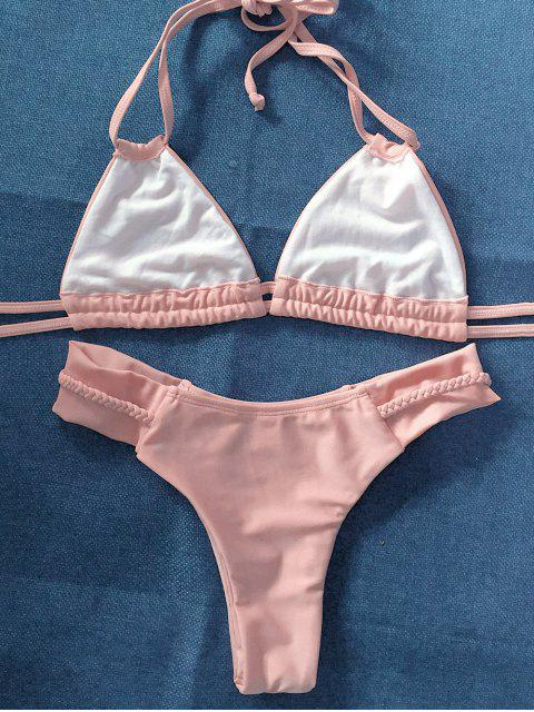 lady String Crossover Bikini Set - PINKBEIGE S Mobile