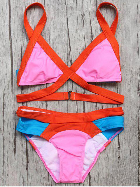 latest Patchwork Bandage Bikini Set - ROSE RED L Mobile