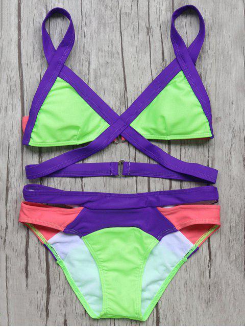 sale Patchwork Bandage Bikini Set - NEON GREEN L Mobile