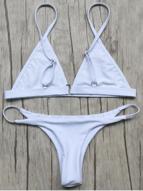 affordable Unlined Plunge Bikini Top and Thong Bottoms - WHITE S Mobile