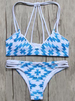 Motif Géométrique Rembourré Stringy Bikini - Bleu Et Blanc - Bleu Et Blanc S
