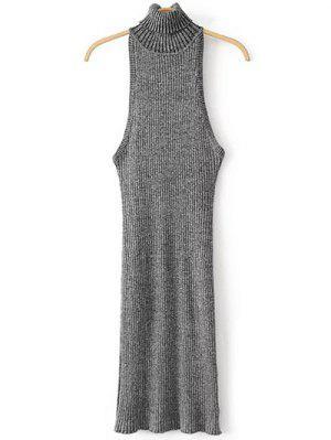 Turtleneck Sleeveless Sweater Dress - Gray