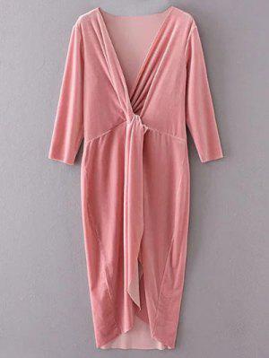 Terciopelo Asimétrica Vestido A Media Pierna - Rosa L