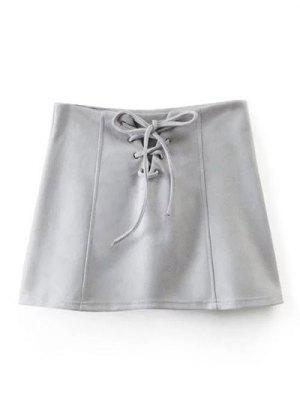 Hasta La Mini Falda Del Cordón De Gamuza Sintética - Gris L