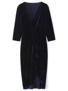 Asymmetric Velvet Midi Wrap Dress - Purplish Blue L