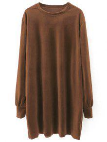 Velvet Tunic Dress - Brown S