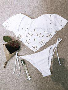 Bikini 2 Pièce Ajouré Filet Sans Bretelle  - Blanc M