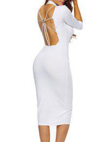 فستان ميدي ضيق - أبيض L