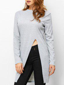 High Neck High Slit T-Shirt - Light Gray M