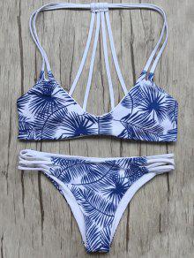 Biquíni Azul E Branco Com Tiras E Estampa De Folhas - Azul E Branco S