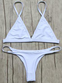 Unlined Plunge Bikini Top And Thong Bottoms - White S