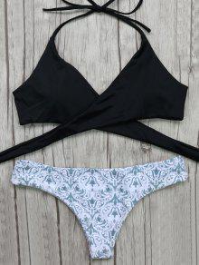 Top De Bikini Enveloppant Avec Bas Imprimé Baroque  - Blanc Et Noir S