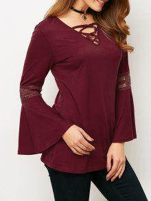 Flare Sleeve Lace-Up T-Shirt - Wine Red S