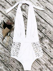 High Waisted Plunge Neck Hollow Out Tummy Control Swimsuit - White L