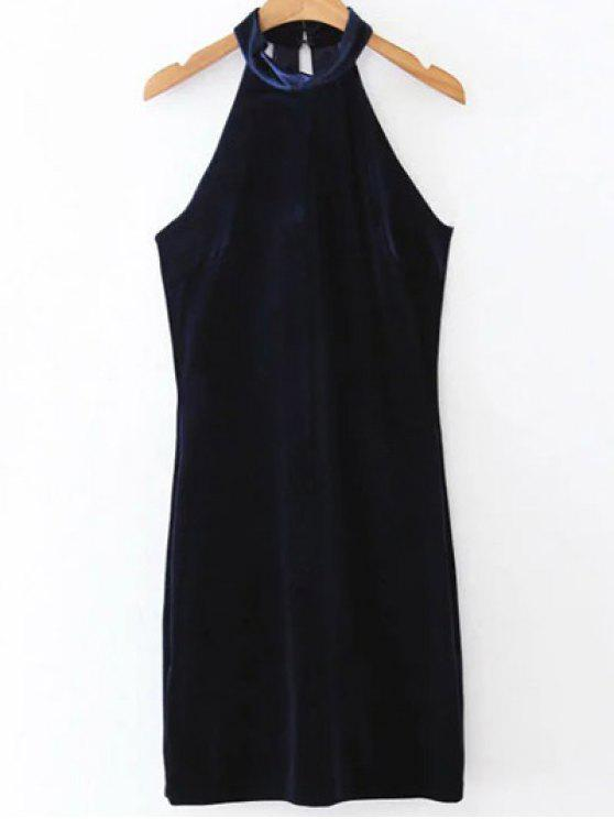 unique Halter Velvet Bodycon Dress - PURPLISH BLUE L