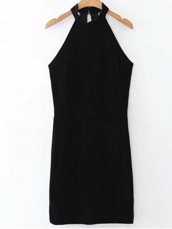 فستان ضيق بالمخمل و الرباط - أسود L
