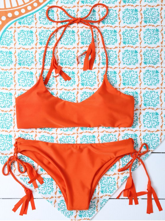 Bikini de Tirantes con Borlas - Naranja S